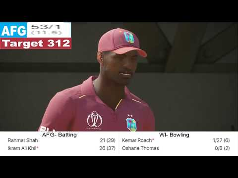 AFGHANISTAN vs WEST INDIES || ICC WORLD CUP ||  LIVE SCORE  || WITH ASHES CRICKET GAMEPLAY