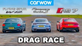 Bentley Flying Spur vs Audi RS7 vs Porsche Panamera Turbo S - DRAG RACE!
