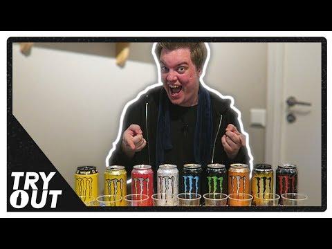 A Monster Energy Drink Taste Test (Blindfolded) | Tryout.