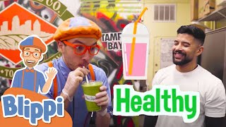 Blippi Makes Organic Smoothies   Healthy Eating For Kids   Educational Videos For Children