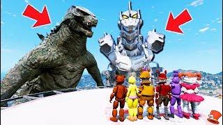 Can the Animatronics BEAT Godzilla & Mecha Godzilla Monsters? (GTA 5 Mods FNAF RedHatter)
