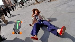 SHE FLEW OFF THE BOOSTED BOARD!!