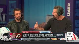 Aaron Rodgers on Alex Smith trade, Injury & upcoming super bowl   Golic & Wingo