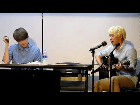 120718 Sukira Open Concert - Sungmin & Ryeowook singing,with Sungmin playing the guitar
