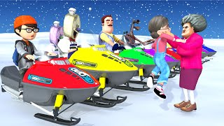 Scary Teacher 3D Fat- Tani hate Ice Scream- Race On Snowy Ice Mountains! Funny Animation and The end