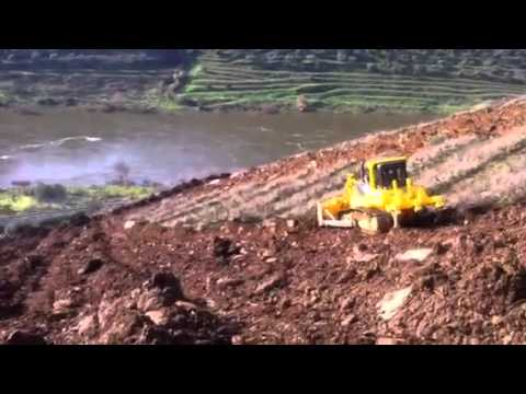 Flatten the soil for planting vines in the Douro