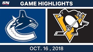 NHL Highlights | Canucks vs. Penguins - Oct. 16, 2018