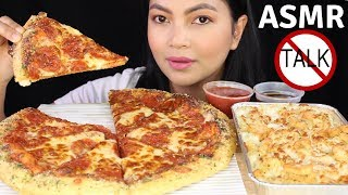 ASMR Pizza Hut Pepperoni Pizza and Creamy Alfredo Pasta EATING SOUNDS (NO TALKING)