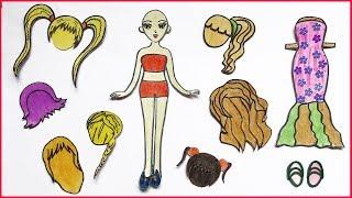 Tự làm búp bê bằng giấy #2 - Thiết kế 7 bộ tóc giả búp bê - How to make Paper Doll Craft (Chim Xinh)