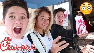 GOING THROUGH THE DRIVE THRU ON A GOLF CART! | Brock and Boston