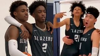 Bronny James and Zaire Wade going through their first media day and photo shoot together