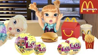 LOL Dolls Toy Hunt FROZEN Elsa & Anna toddlers & McDonald's!  Come Play Toy Store LOL Surprise Hunt