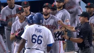 SF@LAD: Benches clear after Puig, Bumgarner go at it