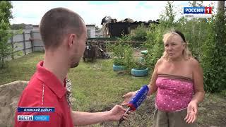 В деревне Берёзовка Азовского района из-за удара молнии сгорел жилой дом