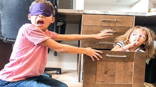Blindfold Hide & Seek in Dad's OFFICE