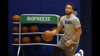 Golden State Warriors' Stephen Curry practices with the team in San Francisco