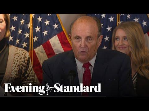 Hair dye streams down sweating Rudy Giuliani's face as Trump campaign again claims voter fraud