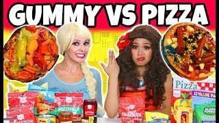 GUMMY VS REAL FOOD CHALLENGE. (Elsa vs Moana Characters) 2018
