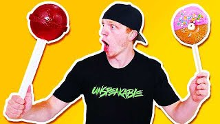 GIANT CANDY CHALLENGE! GIANT LOLLIPOP, DONUT, & MORE!