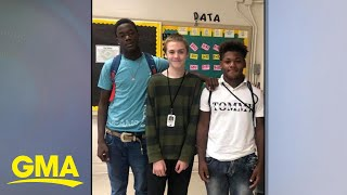 High school football players' gifts to freshman who was bullied