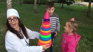 Kids play with COLOR TIRES & GIANT STACKING RINGS FUN FUN FUN