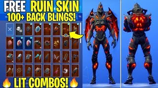 "NEW ""RUIN"" SKIN Showcased With 110+ BACK BLINGS! Fortnite Battle Royale (Best RUIN SKIN COMBOS)"