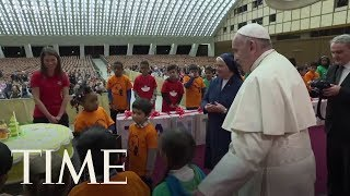 Children At Vatican Charity Give Pope Francis An Early Birthday Cake   TIME