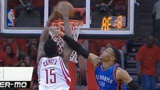 Clint Capela dunks on Russell Westbrook