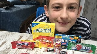Asmr eating: American candy!*eating sounds*(soft-whisper  lovely asmr s