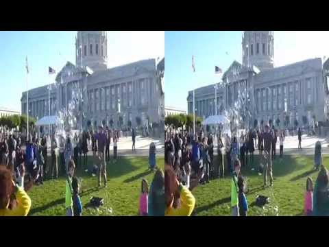 Creating Bubbles at City Hall Centennial Celebration (Stereoscopic 3D)