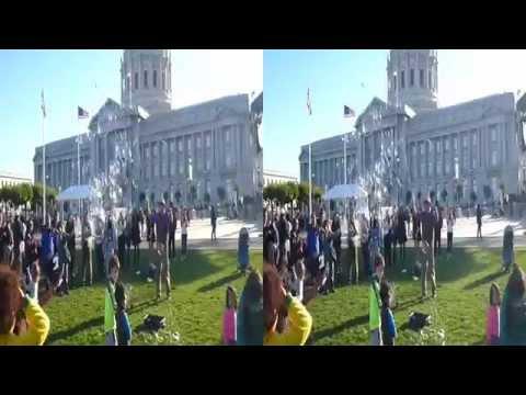 Creating Bubbles at City Hall Centennial Celebration (Stereoscopic 3D)