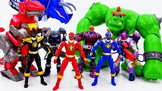 Power Rangers & Marvel Avengers Toys Pretend Play | Super Hero Zords vs Darkseid Giant VIllains