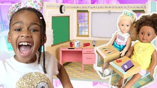 Baby Doll School! Pretend Play with American Girl Doll Classroom