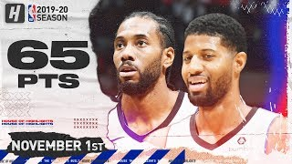 Paul George & Kawhi Leonard 65 Pts Combined Highlights | Wizards vs Clippers | November 20, 2019