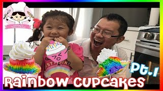 KIDS SIZE COOKING - RAINBOW CUPCAKE - LEARN COLOR & FOOD NAMES pt 1 🎈 FOOD SHOPPING WITH CLAIRE