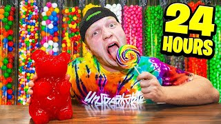 SNEAKING In OVERNIGHT CANDY SHOP 24 HOUR Challenge!