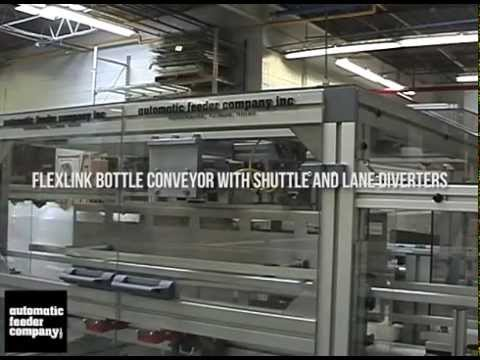 FlexLink XH Bottle Conveyor with Shuttle Transfer Mechanism