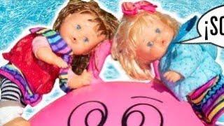 🙈 Noa y Noe se caen vestidas a la piscina con la pelota saltarina 🏀Desastre por desobedecer a mamá