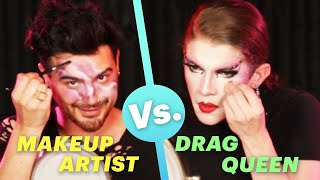Makeup Artist Vs. Drag Queen Makeup Challenge