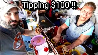 TIPPING $100 DOLLARS TO MEXICAN STREET FOOD STAND - Giving Back SURPRISE At The End!!!