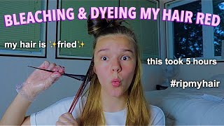 BLEACHING AND DYEING MY HAIR RED