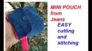 REUSE  JEANS to make लेडीज बटुआ, CUTE ZIPPER COINS CARD POUCH BAG WOMEN PURSE