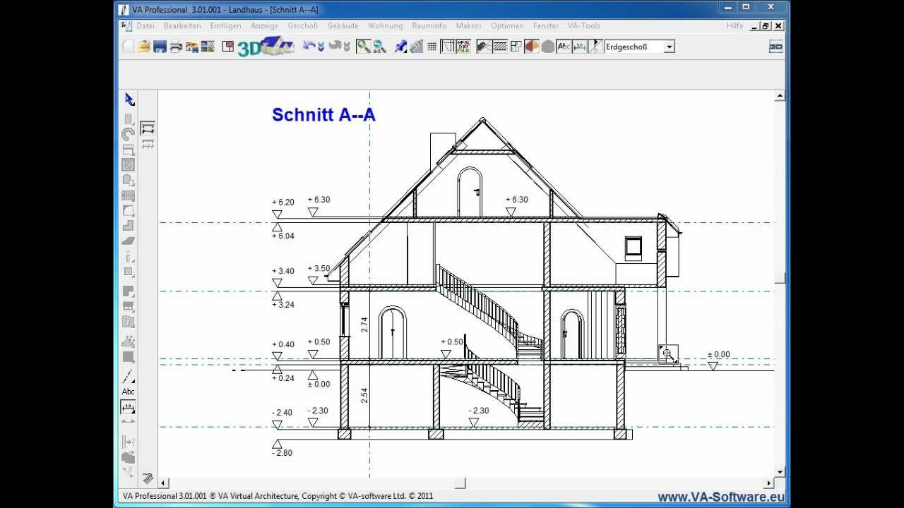 va tutorial 3 4 2 verma ung von schnitten in 3d cad kompatibel zu va software arcon etc. Black Bedroom Furniture Sets. Home Design Ideas