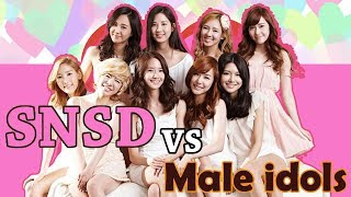When SNSD Girls Generation Meet Male idols Funny and Romance Moments ft (super junior Exo and more.)