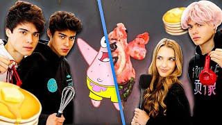 PANCAKE ART CHALLENGE SpongeBob Edition   Alan Stokes & Andrew Davila vs Lexi Rivera & Alex Stokes