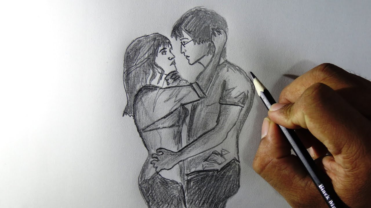 How to draw Couples in love - pencil drawing -Tracing ...