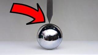 EXPERIMENT HYDRAULIC Guillotine 100 TON vs METAL BALL !