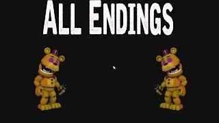 FNAF World All Endings - TRUTH/FOURTH GLITCH/DROWNING/UNIVERSE/CHIPPER'S REVENGE/CLOCK