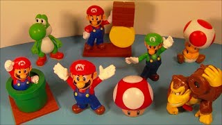 2014 SUPER MARIO BROS. SET OF 8 McDONALD'S HAPPY MEAL KID'S TOY'S VIDEO REVIEW