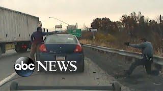 Video shows moment traffic stop becomes near-fatal gun battle